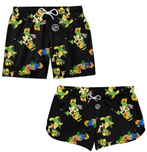 Kit Casal Short Bermuda Moda Praia - Papagaio