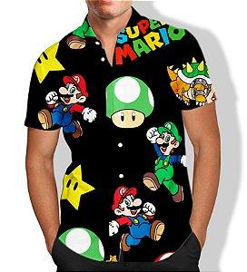 Camisa Masculina Social Luxo Mario Bros
