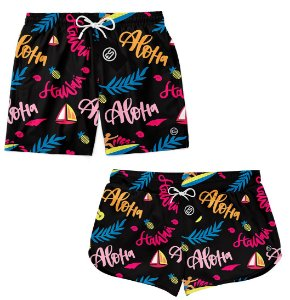 Kit Casal Short Bermuda Moda Praia - Aloha