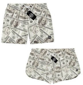 Kit Casal Short Bermuda Moda Praia - Money Dollar