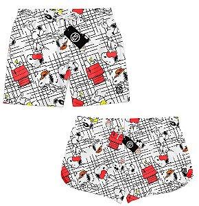 Kit Casal Short Bermuda Moda Praia - Snoopy