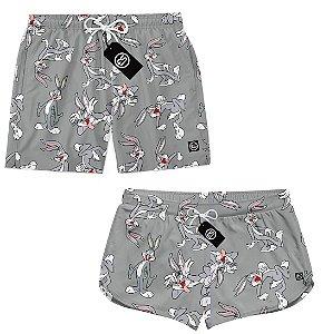 Kit Casal Short Bermuda Moda Praia - Looney Tunes Pernalonga