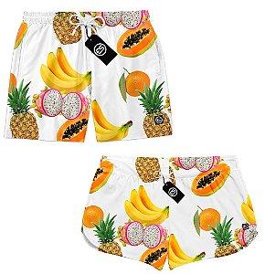 Kit Casal Short Bermuda Moda Praia - Salada de Frutas