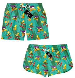 Kit Casal Short Bermuda Moda Praia - Bart Simpson