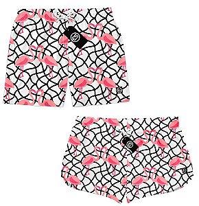 Kit Casal Short Bermuda Moda Praia - Flamingo