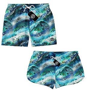 Kit Casal Short Bermuda Moda Praia - Abstrato