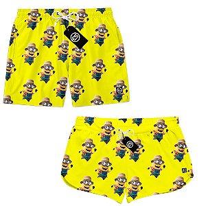 Kit Casal Short Bermuda Moda Praia - Minions