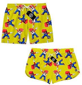 Kit Casal Short Bermuda Moda Praia - Super Mario Bros