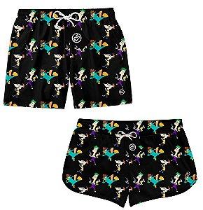 Kit Casal Short Bermuda Moda Praia - Phineas e Ferb