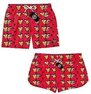 Kit Casal Short Bermuda Moda Praia - Angry Birds
