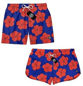 Kit Casal Short Bermuda Moda Praia - Floral