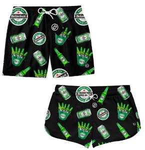 Kit Casal Short Bermuda Moda Praia - Heineken