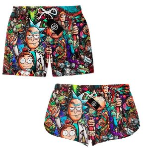 Kit Casal Short Bermuda Moda Praia - Rick and Morty