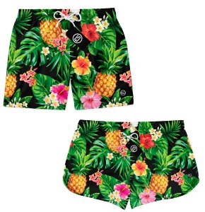 Kit Casal Short Bermuda Moda Praia - Floral Tropical