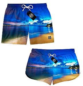Kit Casal Short Bermuda Moda Praia - Foto Praia