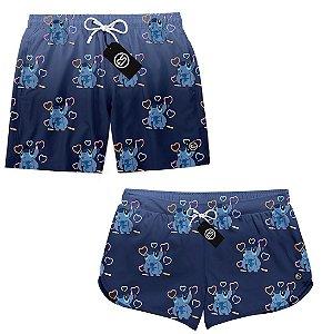 Kit Casal Short Bermuda Moda Praia - Lilo e Stitch