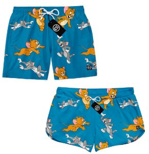 Kit Casal Short Bermuda Moda Praia - Tom e Jerry