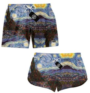 Kit Casal Short Bermuda Moda Praia - Noite Estrelada Van Gogh