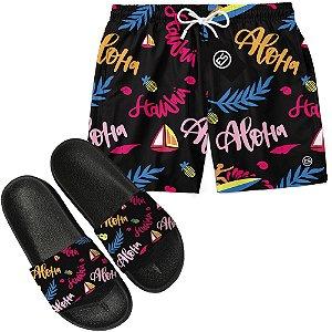 Kit Short Bermuda Moda Praia + Chinelo Slide - Aloha