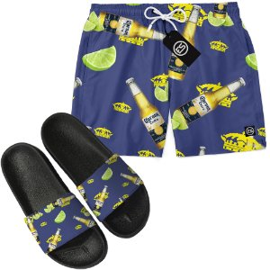 Kit Short Bermuda Moda Praia + Chinelo Slide - Corona Beer