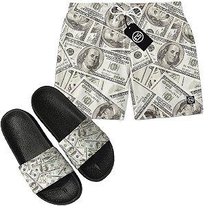 Kit Short Bermuda Moda Praia + Chinelo Slide - Money Dollar
