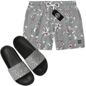 Kit Short Bermuda Moda Praia + Chinelo Slide - Looney Tunes Pernalonga