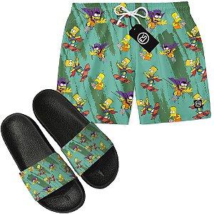 Kit Short Bermuda Moda Praia + Chinelo Slide - Bart Simpson