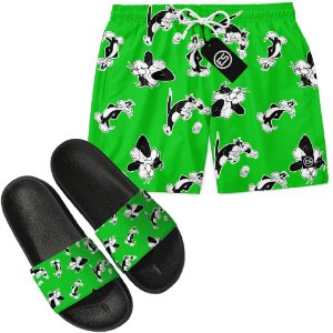 Kit Short Bermuda Moda Praia + Chinelo Slide - Looney Tunes Frajola