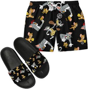 Kit Short Bermuda Moda Praia + Chinelo Slide - Tom e Jerry