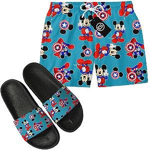 Kit Short Bermuda Moda Praia + Chinelo Slide - Mickey Mouse