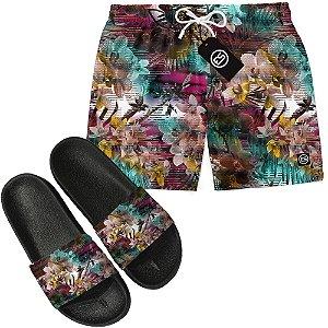 Kit Short Bermuda Moda Praia + Chinelo Slide - Floral Glitch