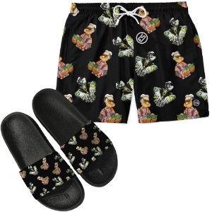 Kit Short Bermuda Moda Praia + Chinelo Slide - Popeye