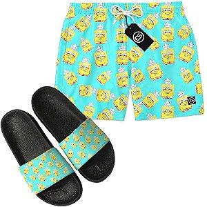 Kit Short Bermuda Moda Praia + Chinelo Slide - Bob Esponja