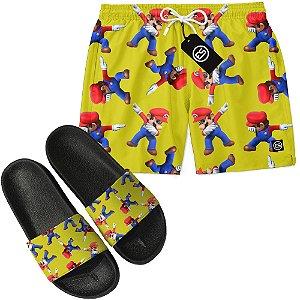 Kit Short Bermuda Moda Praia + Chinelo Slide - Super Mario Bros