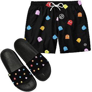 Kit Short Bermuda Moda Praia + Chinelo Slide - Pac Man