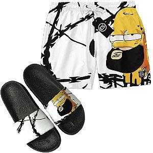 Kit Short Bermuda Moda Praia + Chinelo Slide - Homer Simpson Thug Life