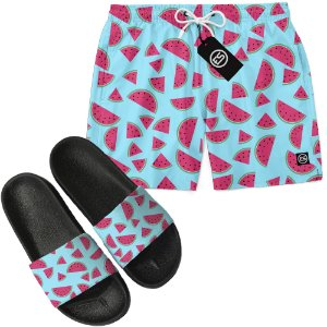 Kit Short Bermuda Moda Praia + Chinelo Slide - Melancia