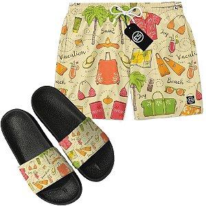 Kit Short Bermuda Moda Praia + Chinelo Slide - Ferias Praia
