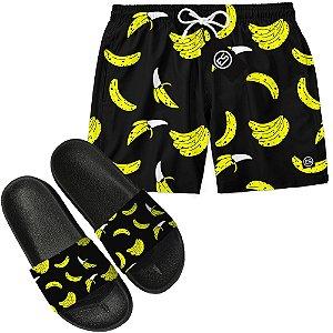 Kit Short Bermuda Moda Praia + Chinelo Slide - Banana