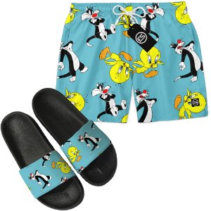 Kit Short Bermuda Moda Praia + Chinelo Slide - Looney Tunes