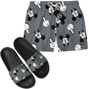 Kit Short Bermuda Moda Praia + Chinelo Slide - Mickey Mouse