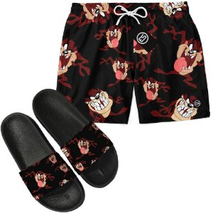 Kit Short Bermuda Moda Praia + Chinelo Slide - Looney Tunes Taz