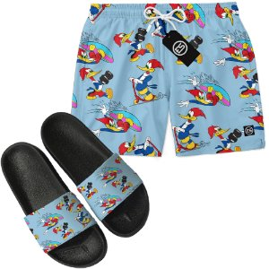 Kit Short Bermuda Moda Praia + Chinelo Slide - Pica Pau