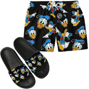 Kit Short Bermuda Moda Praia + Chinelo Slide - Pato Donald