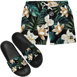 Kit Short Bermuda Moda Praia + Chinelo Slide - Floral