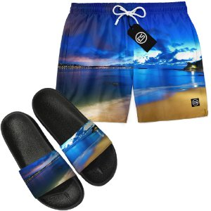 Kit Short Bermuda Moda Praia + Chinelo Slide - Foto Praia