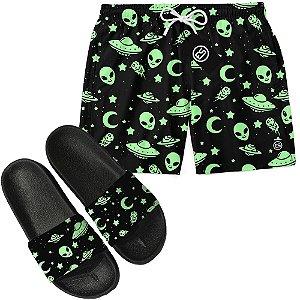 Kit Short Bermuda Moda Praia + Chinelo Slide - Green Alien