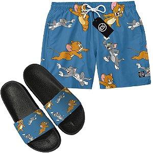 Kit Short Bermuda Moda Praia + Chinelo Slide - Tom e Jerry