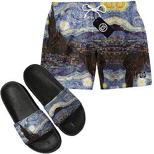 Kit Short Bermuda Moda Praia + Chinelo Slide - Noite Estrelada Van Gogh