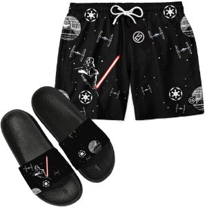 Kit Short Bermuda Moda Praia + Chinelo Slide - Star Wars